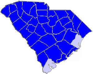 1896 South Carolina gubernatorial election map, by percentile by county.   65+% won by Ellerbe   50%-54% won by Ellerbe