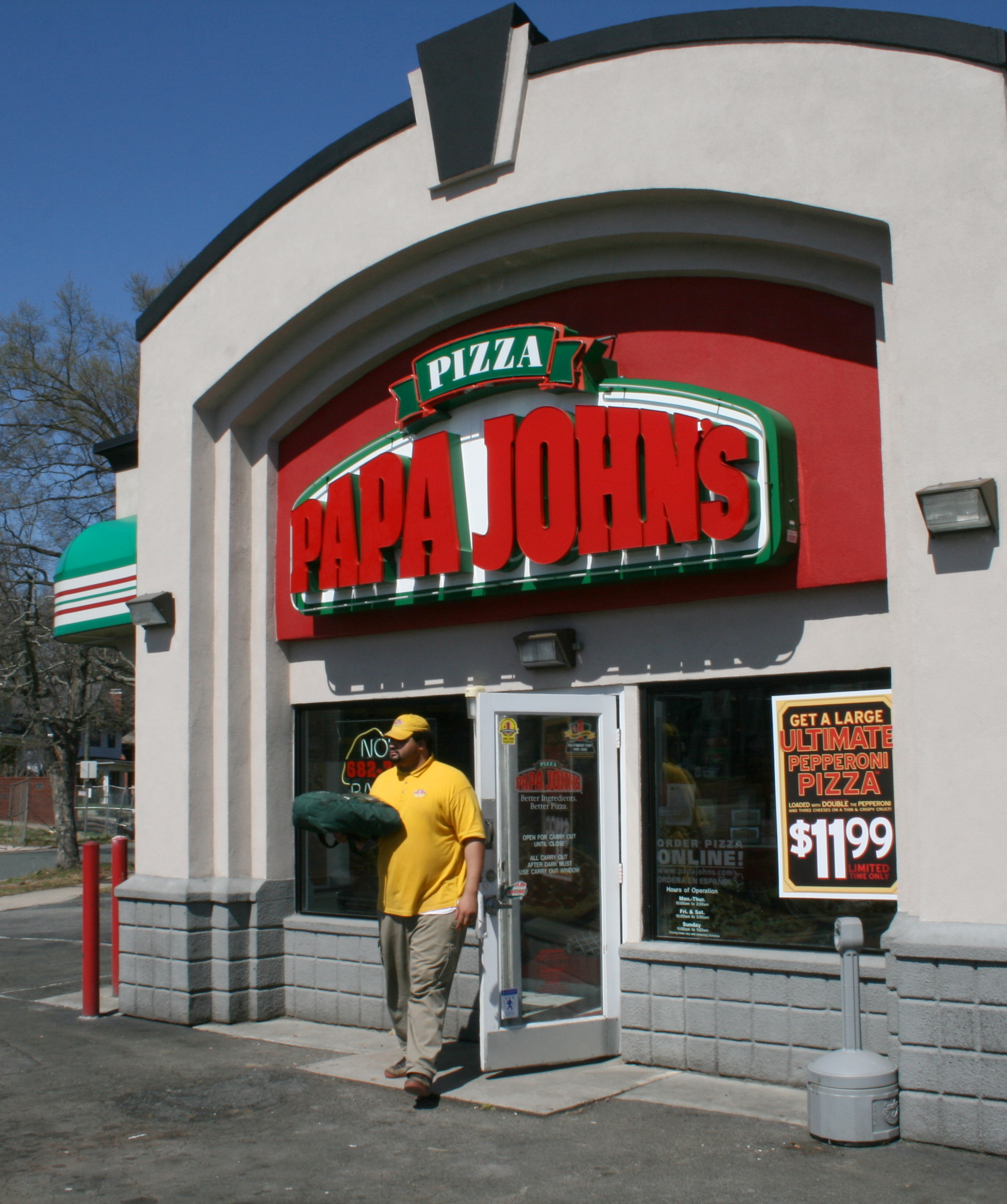 2009 03 20 Papa John%27s Pizza out for delivery in Durham Papa Johns Pizza sued for $250 million over SMS spam