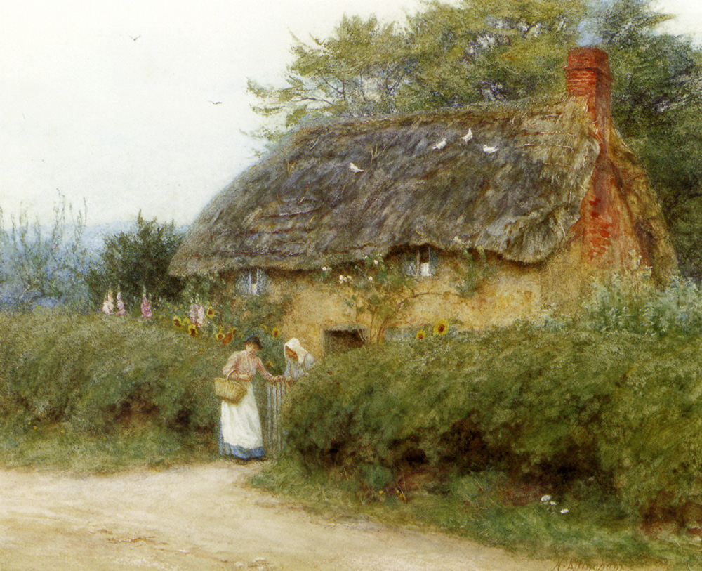 File:Allingham Helen A Cottage With Sunflowers At Peaslake ...