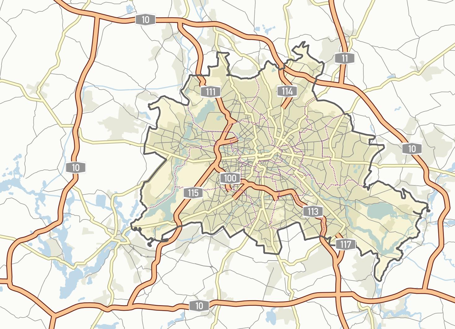 Übersichtskarte des Berliner Straßennetzes