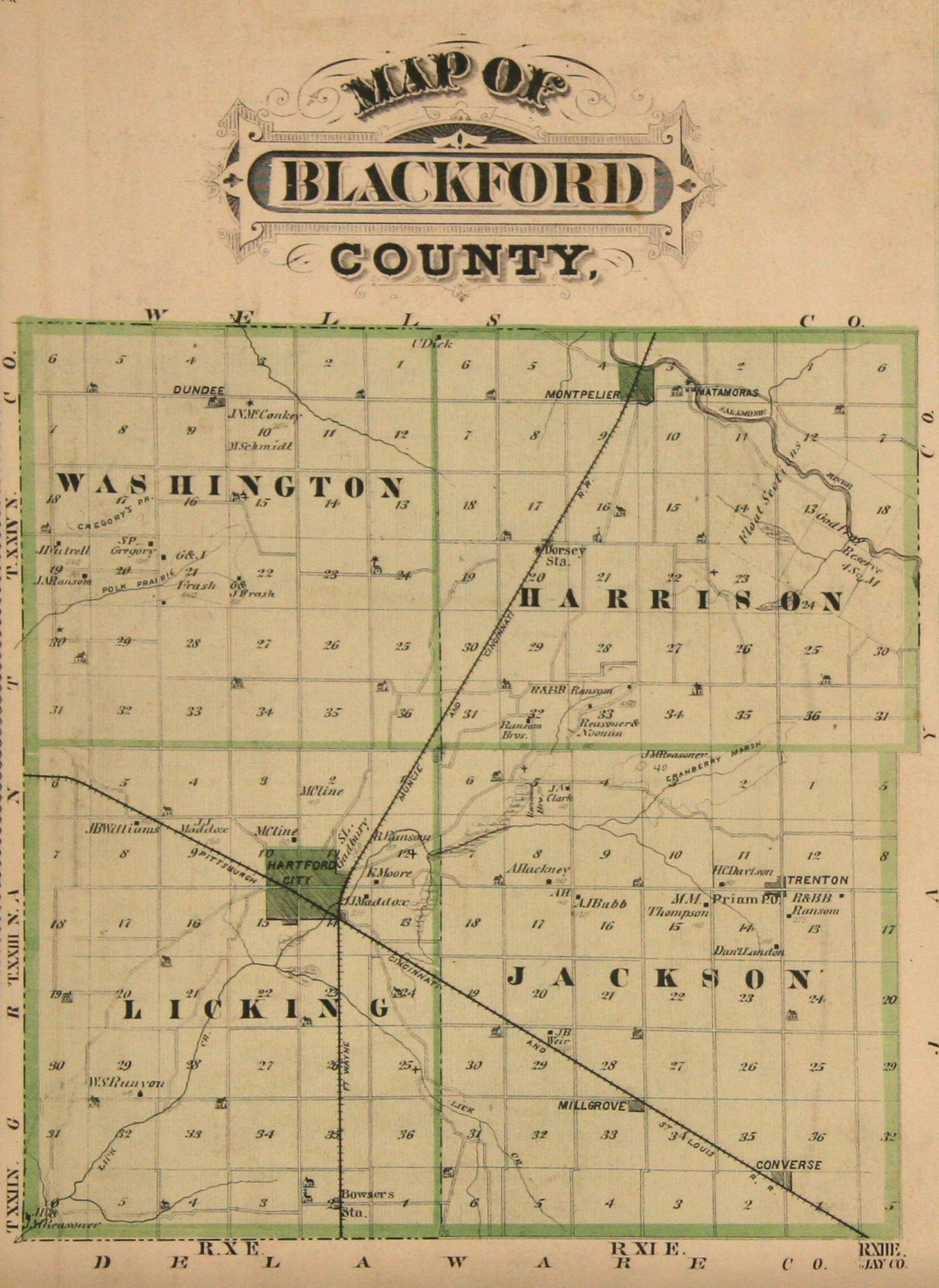 Blackford County Townships Maps - Indiana maps