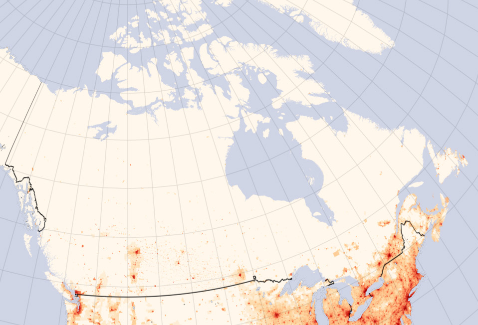 Population Density Of Canada Map Population of Canada   Wikipedia