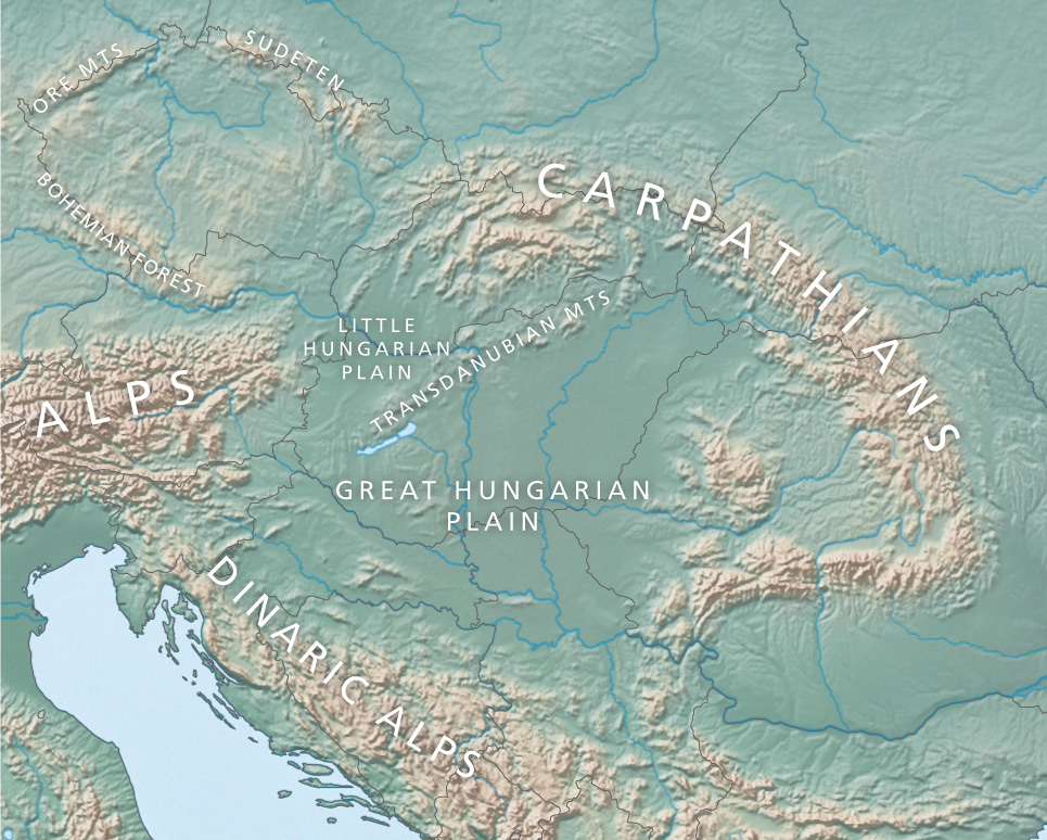Map of the Pannonian Basin