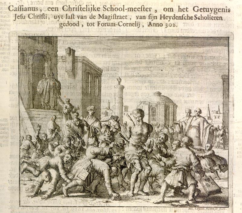 Jan Luyken (1649-1712): Kassian av Imola drepes av sine studenter, radering fra «Martyrspeil» (Martelaers Spiegel), Amsterdam 1665