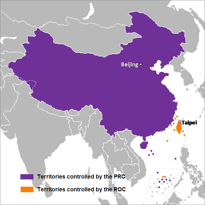 Territories currently administered by two states that formally use the name China: the PRC (in purple) and the ROC (in orange).