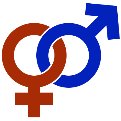 Decorative image of two interlocking gender symbols (male and female)