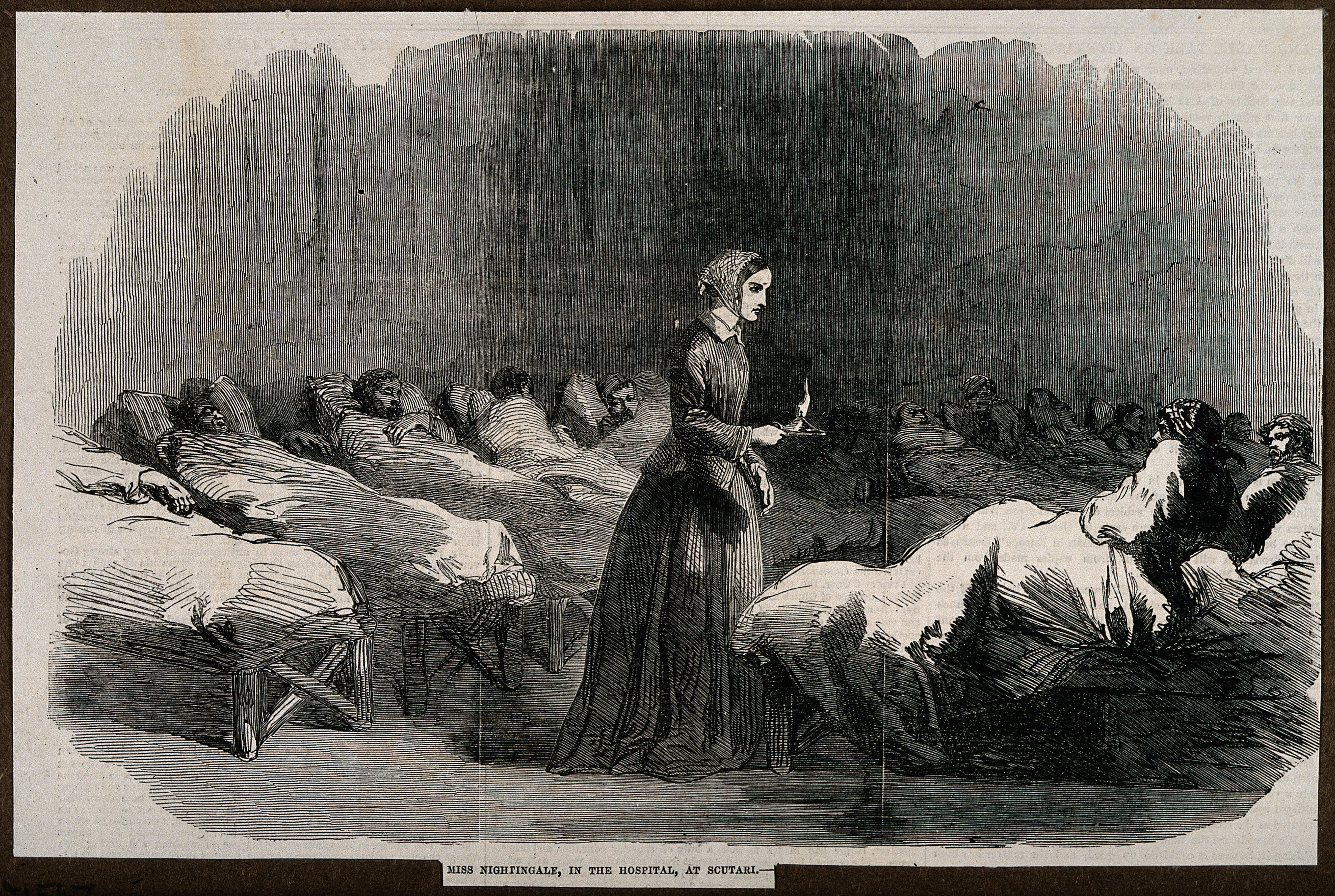 File:Crimean War; Florence Nightingale going around the wards at ...