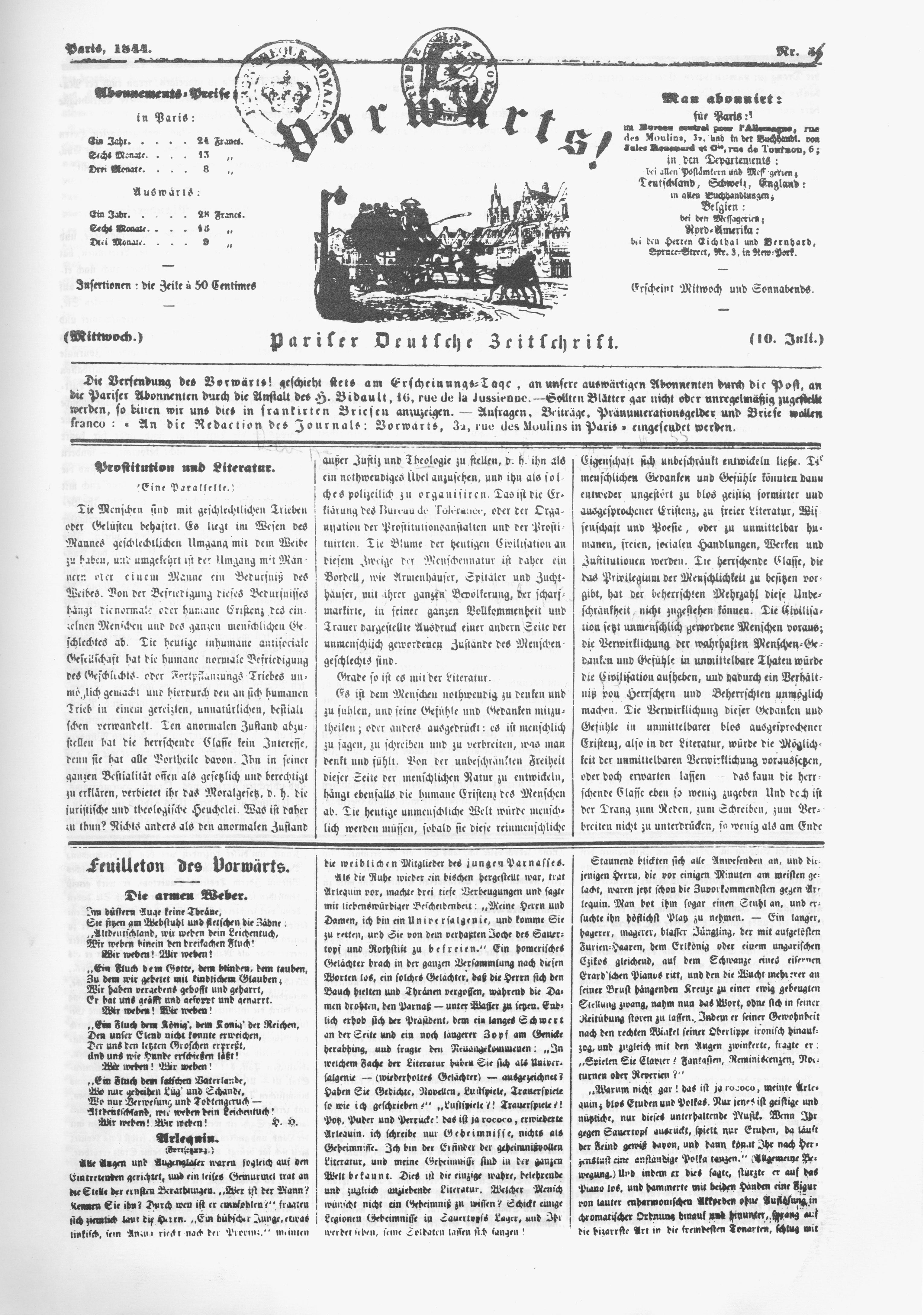 heinrich heine front page of marx s vorwatildecurrenrts featuring heine s poem die schlesischen weber