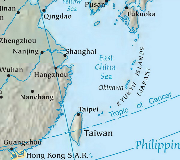 East China Sea Wikipedia - Physical map of china 2004