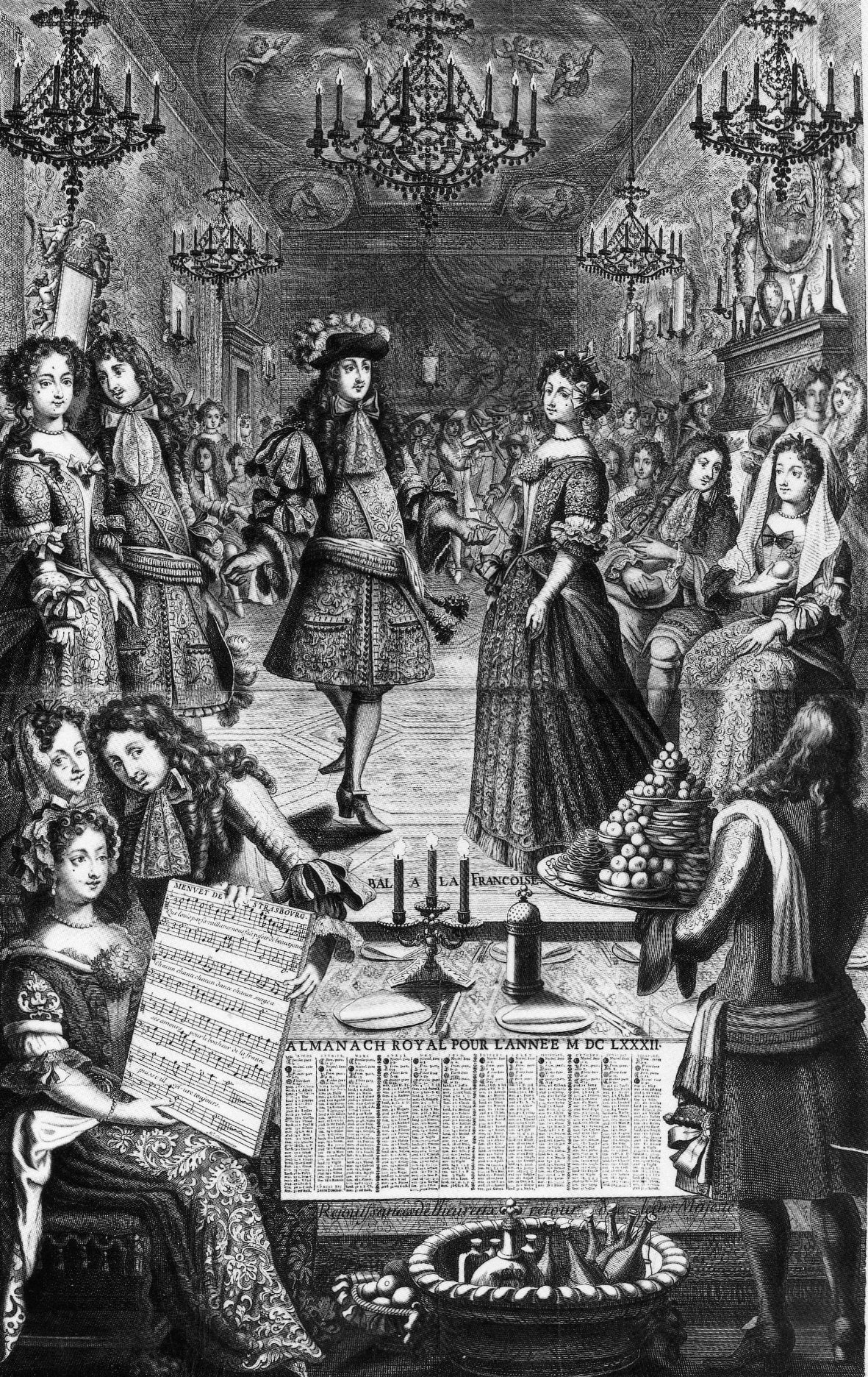 File:Engraving of a 1682 ball given by Louis XIV of France (Almanach royal