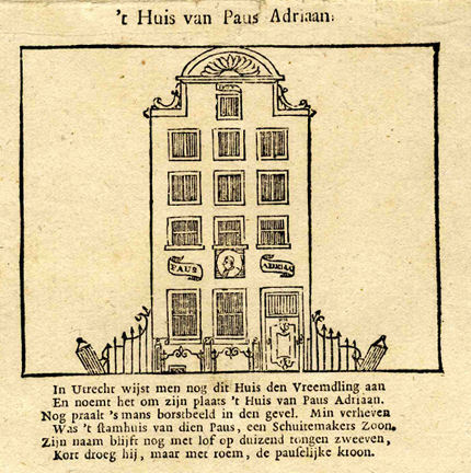 The birth house of pope Hadrian and accompanying poem. Detail of an engraving of 'Famous Dutch Men and Women'. - Pope Adrian VI