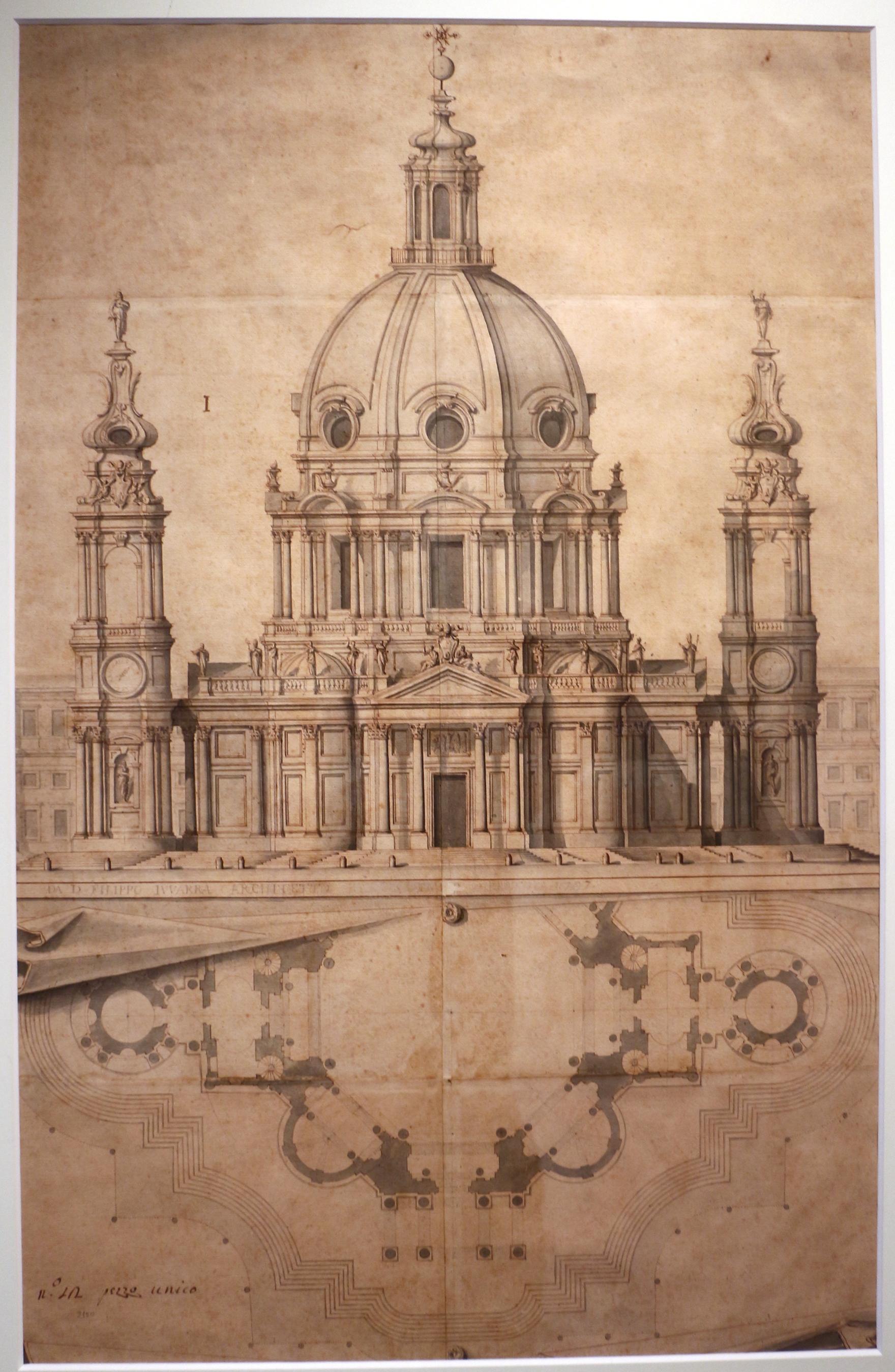 file filippo juvarra  pianta e prospetto di chiesa a
