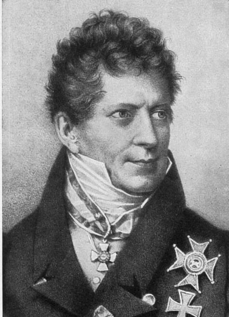 Black and white drawing of Friedrich von Gentz