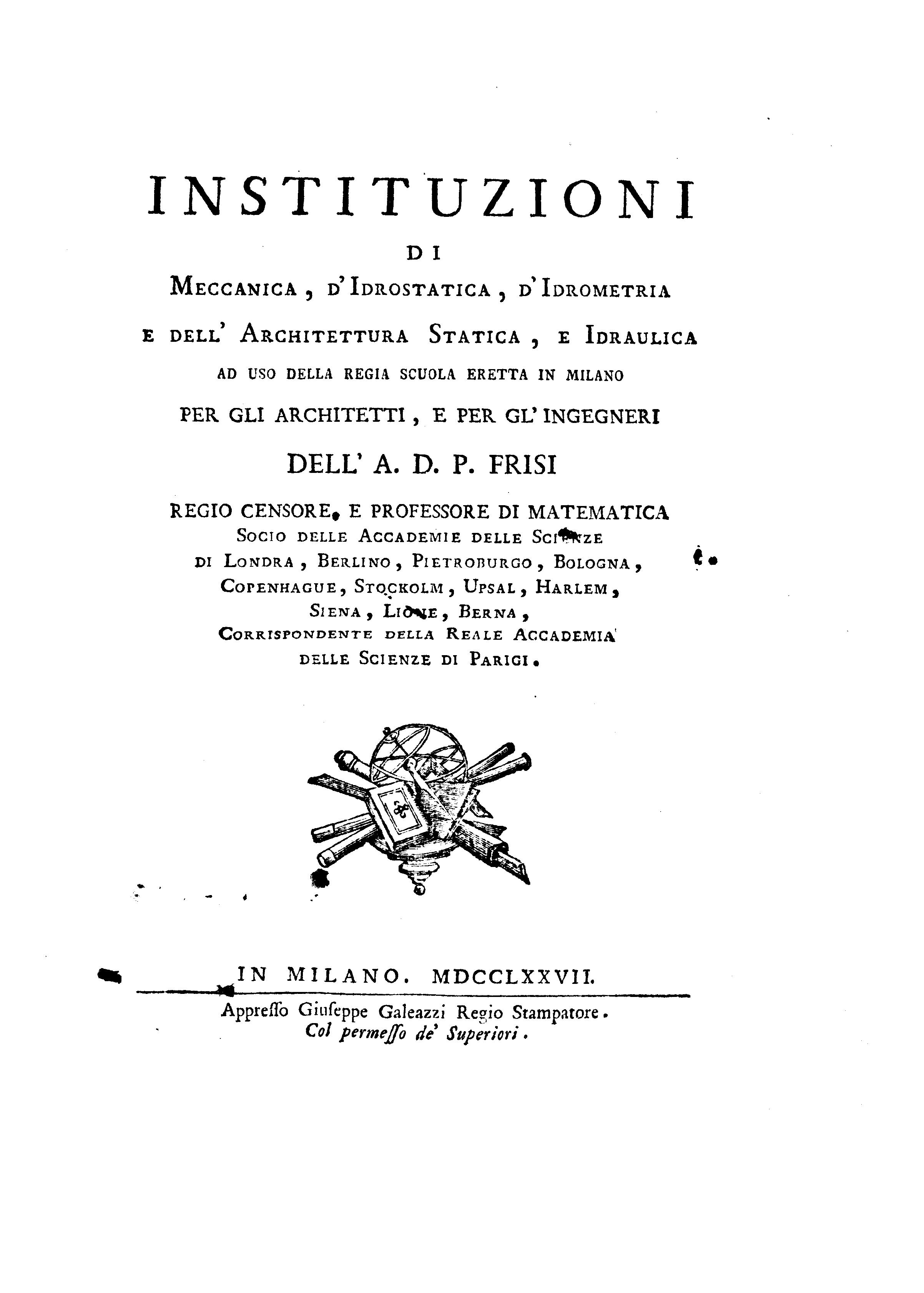 Ad P Architetti fil:frisi - instituzioni di meccanica, d'idrostatica, d
