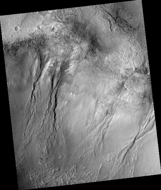 Group of gullies, as seen by HiRISE under the HiWish program