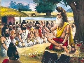 Representação artística do pátio de um Gurukul, autor desconhecido.