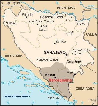 Približne granice Bosne i Hercegovine