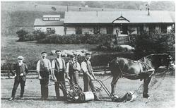 Greenstaff and their equipment. Tom Vardon at left, c. 1900