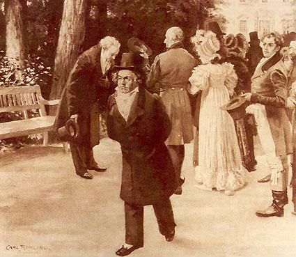 El encuentro en Teplice. Al parecer, cuando Beethoven y Goethe paseaban por la alameda de este balneario, se encontraron a la emperatriz con su familia. El compositor siguió su paseo sin pararse a saludar. Esta imagen es una recreación posterior de Carl Rohling.