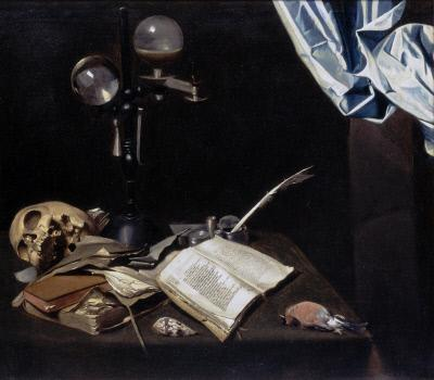 File:Joannes de Cordua - Vanitas still life with a skull, books and writing implements on a table.jpg