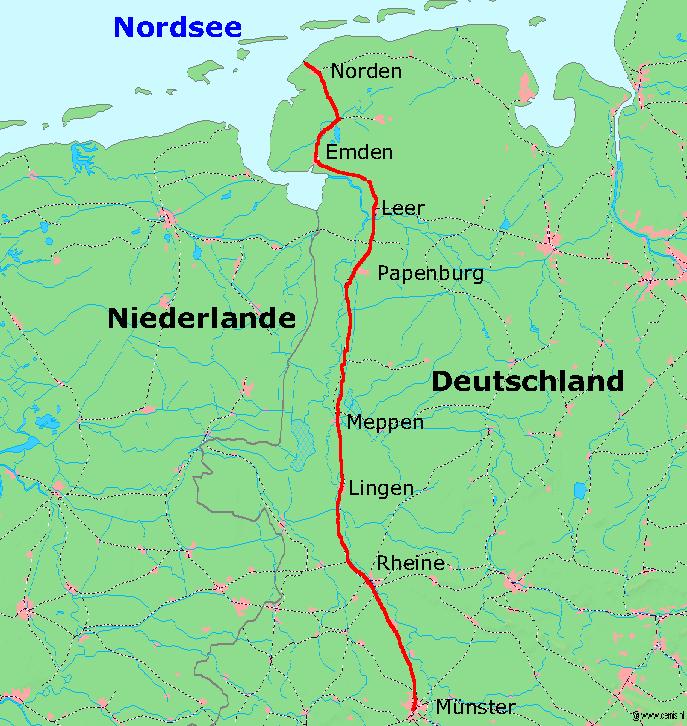 norddeich landkarte deutschland Bahnstrecke Rheine–Norddeich Mole – Wikipedia