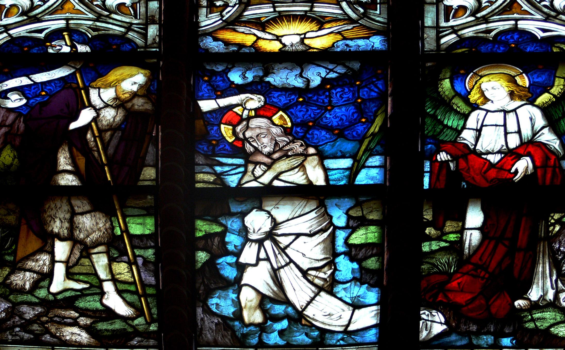 Filelüneburg St Johannis Chor Fenster Detail Taufe Jesujpg