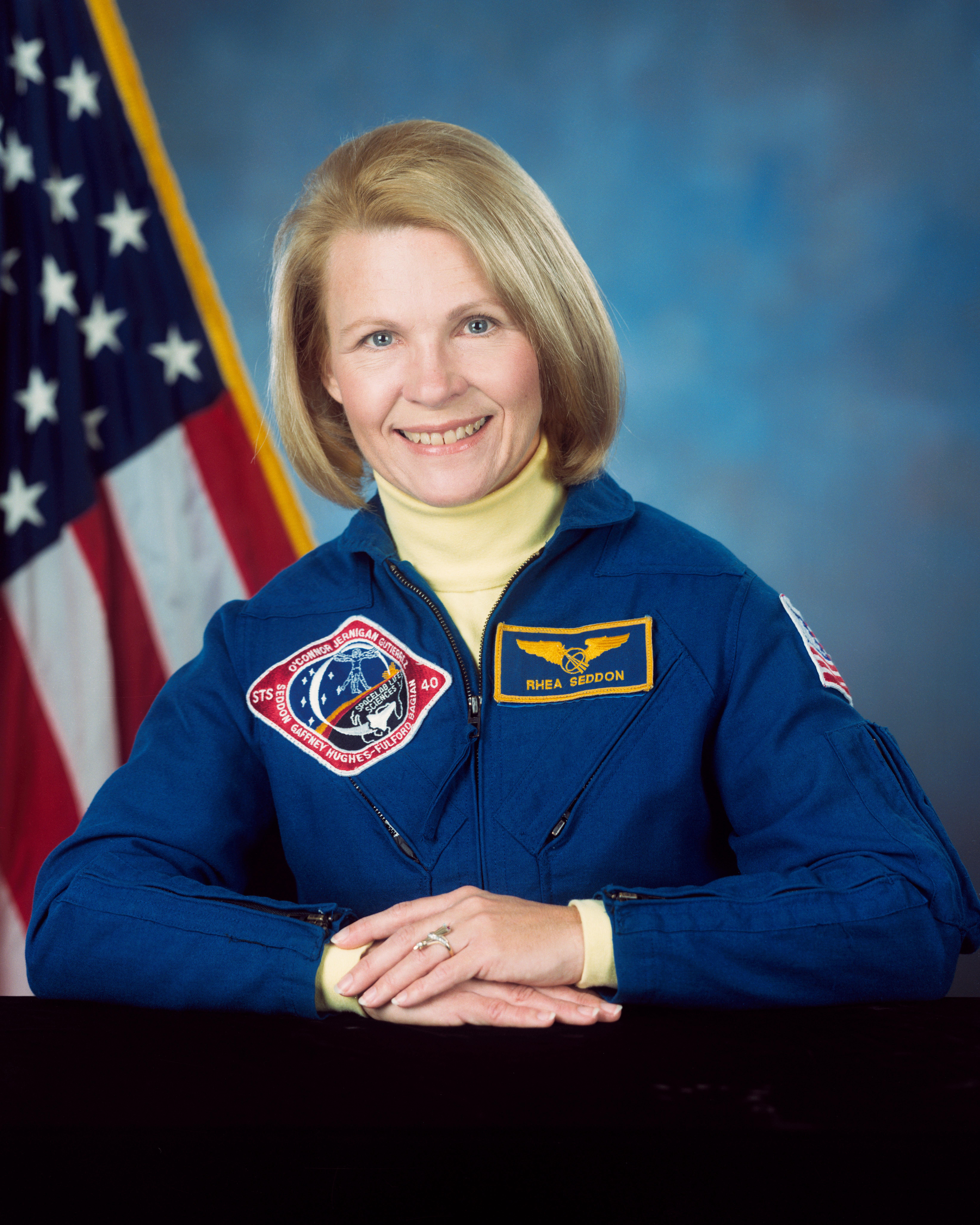 Astronaut M. Rhea Seddon MD, NASA photo (22 May 1992)Source: Wikipedia (www.jsc.nasa.gov unavailable November 2019) MRSeddon.jpg