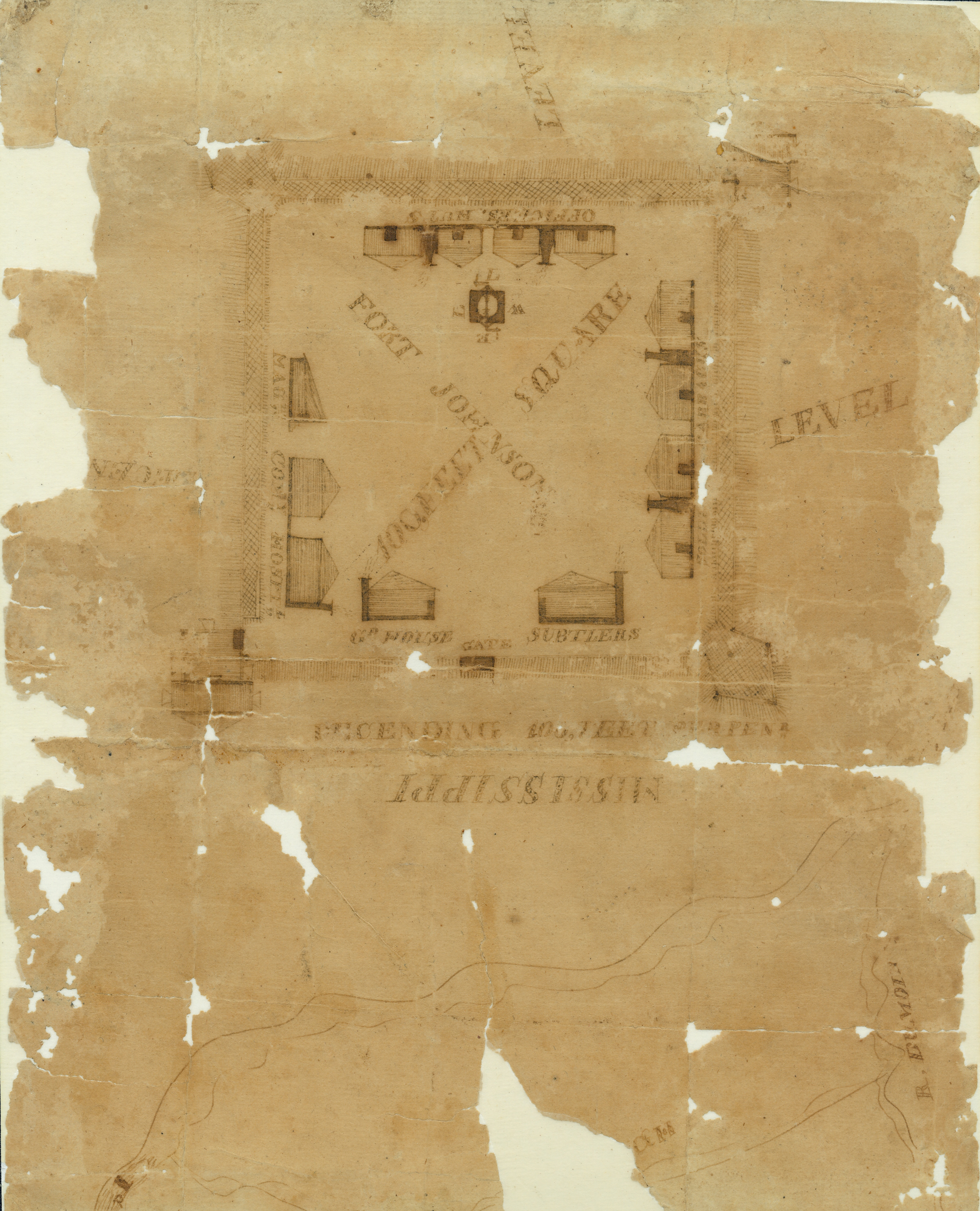 Hand Drawn Map Of Fort Johnson In Davenport Iowa During The War Of