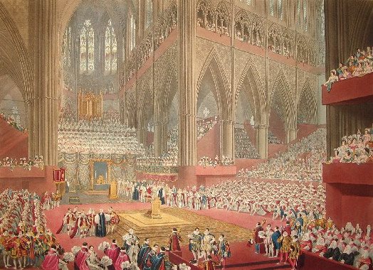 Coronation of George IV, 1821 Matthew Dubourg after James StephanoffCoronationGeorgeIVpubl1822.jpg