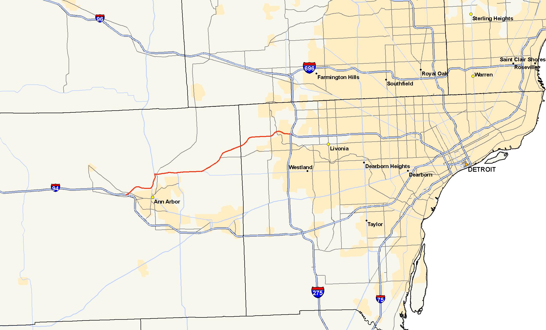 Metro Detroit Traffic Map.M 14 Michigan Highway Wikipedia