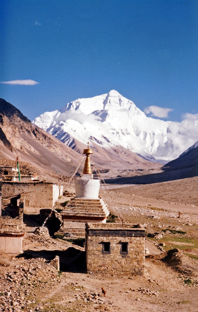Mount Everest as seen from the Rongbuk Monastery.