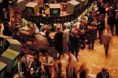 The trading floor of the New York Stock Exchange, one of the largest secondary capital markets in the world. Most of the trades on the New York Stock Exchange are executed electronically, but its hybrid structure allows some trading to be done face to face on the floor. NYSE-floor.jpg