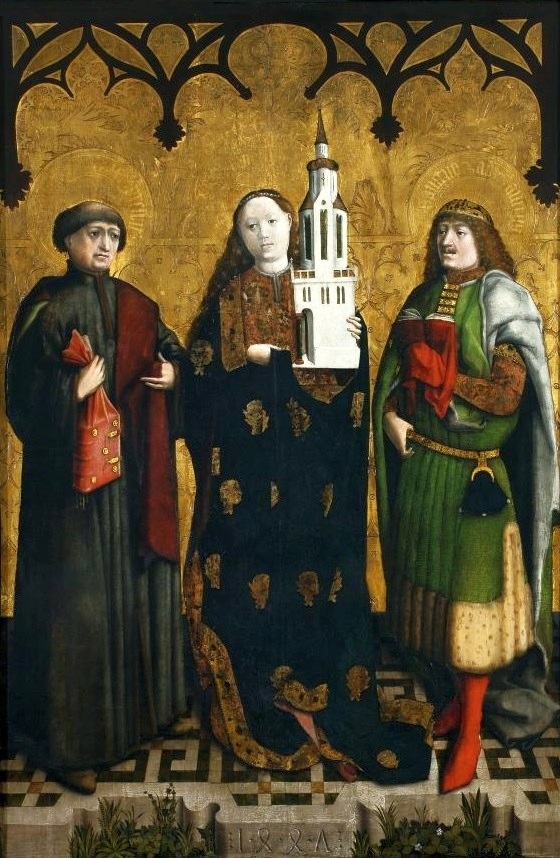 St. Barbara with her attribute - three-windowed tower, central panel of St. Barbara Altarpiece (1447), National Museum in Warsaw