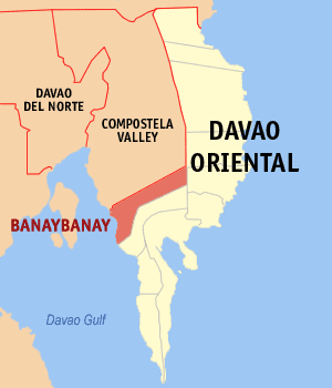 Map of Davao Oriental showing the location of Banaybanay