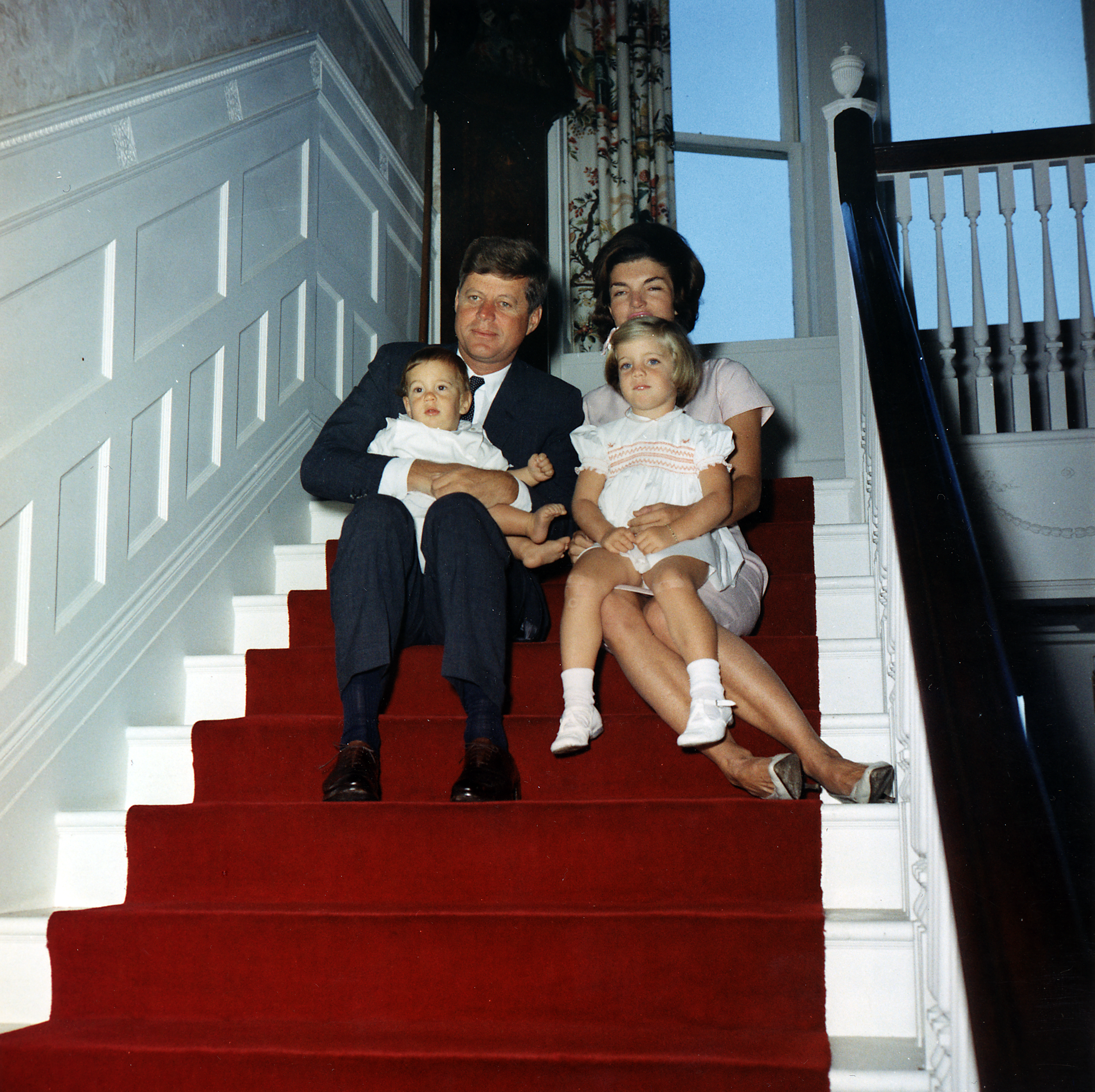 File president kennedy and family at hammersmith farm for John kennedy jr kids