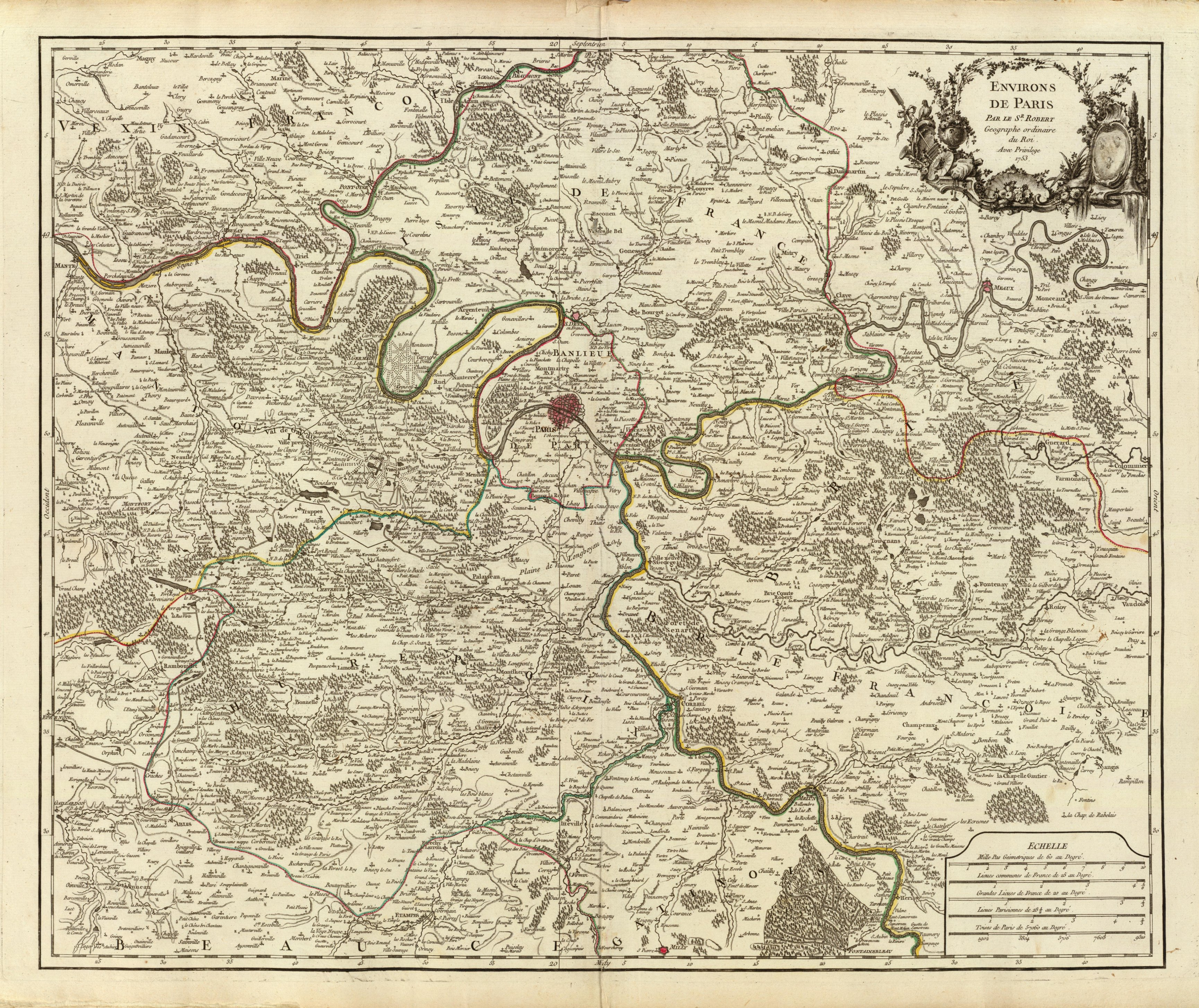 "Map ''Environs de Paris'' (""Surroundings of Paris""), from the first edition of the ''Atlas Universel'', Paris 1757."