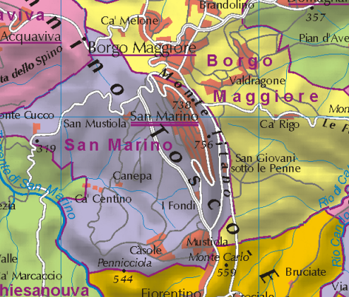 Map of the municipality of San Marino