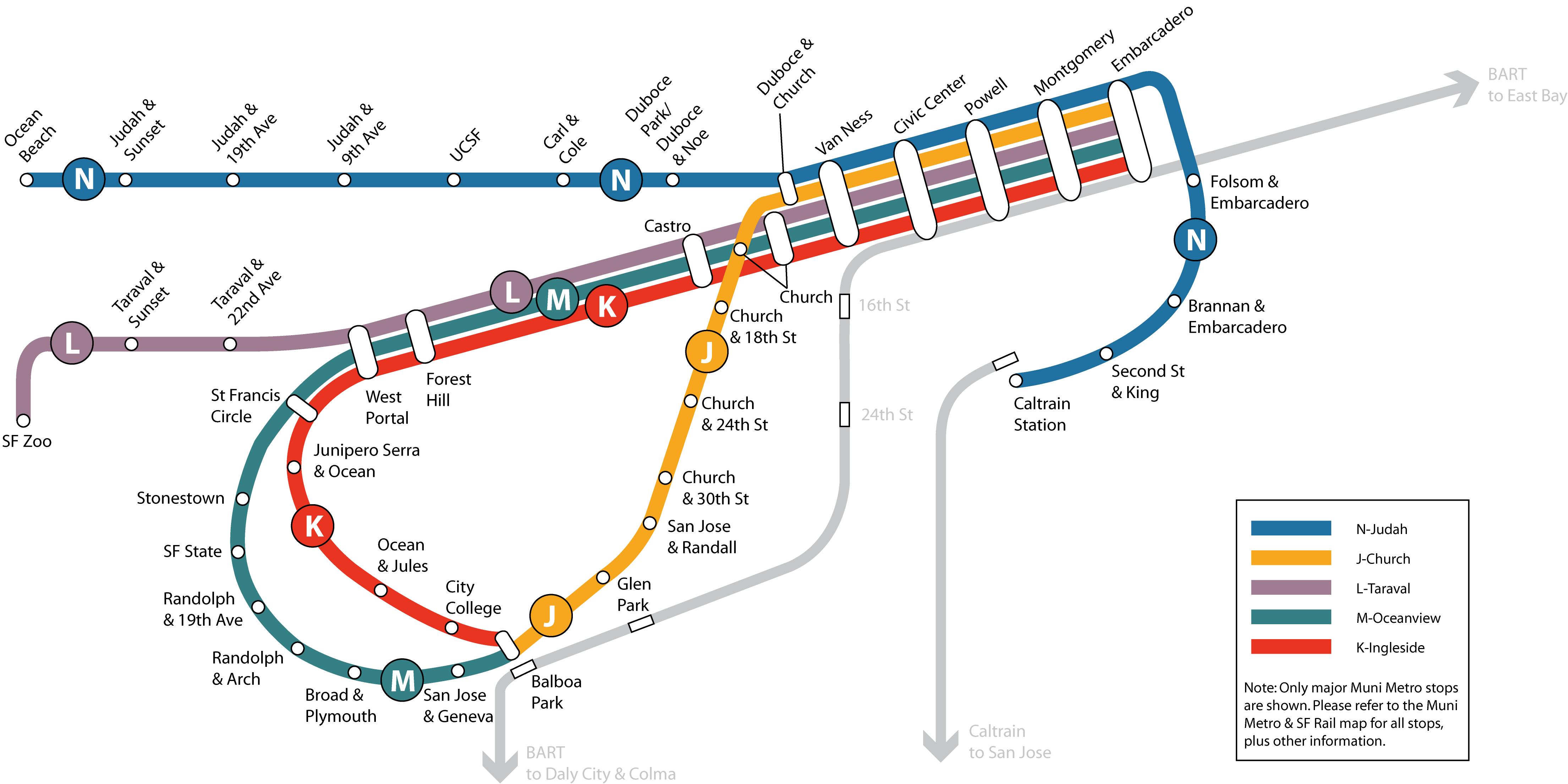 Muni Subway Map.San Francisco Municipal Railway Simple English Wikipedia The Free