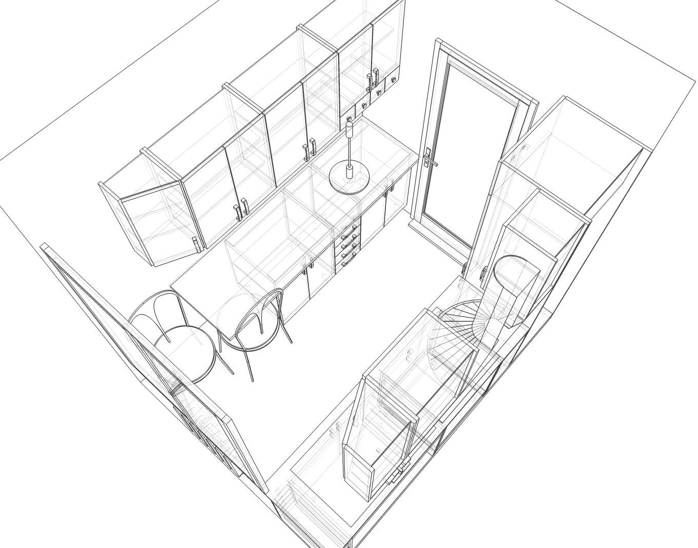 File Small Kitchen 2 Perspective Sketch Png