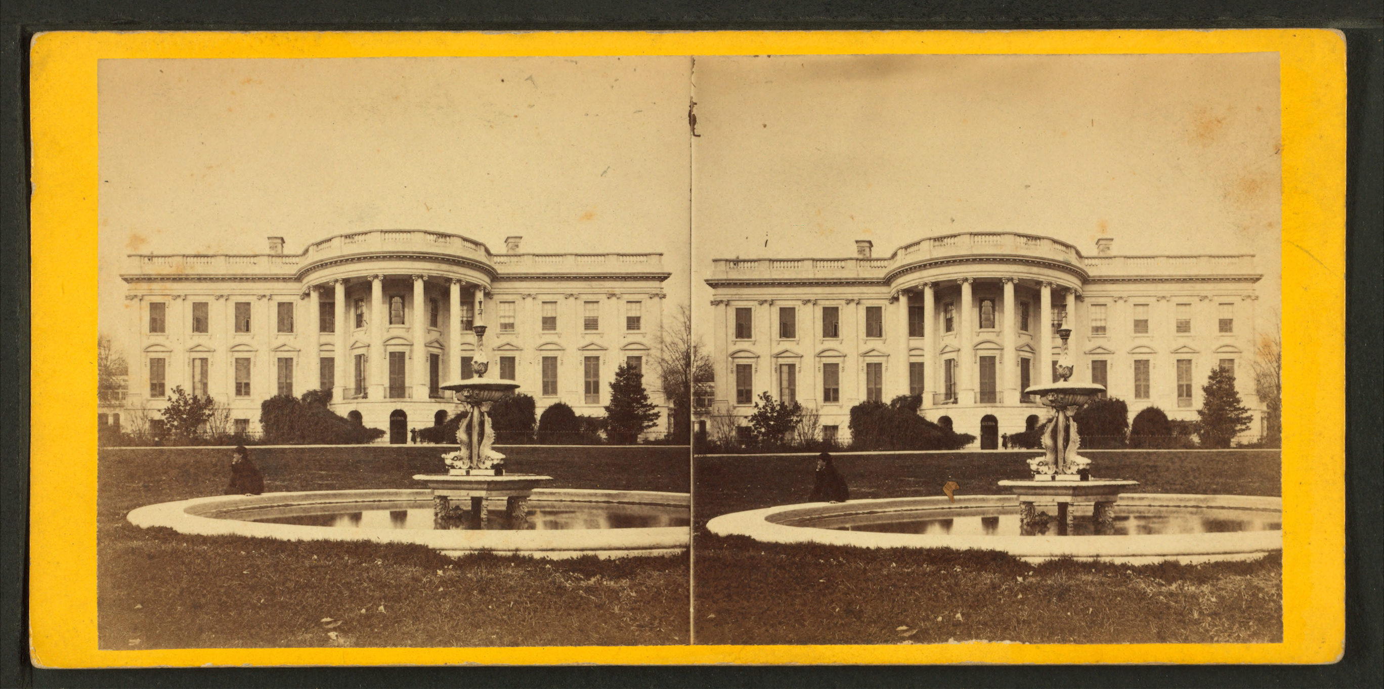 File:South Front of the White House, Fountain in the ...