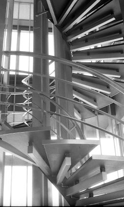 Stairwell in World Health Organization headquarters, Geneva, 1969.jpg