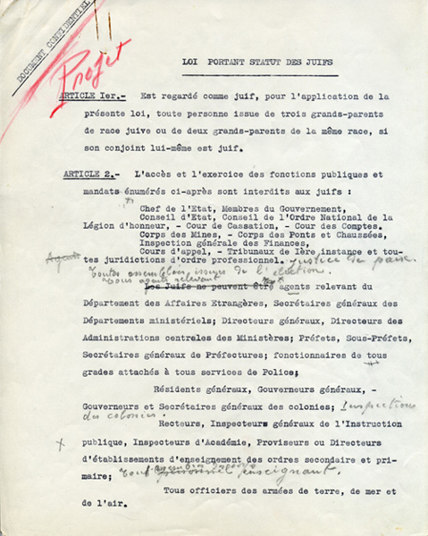 Statut des Juifs - page 1