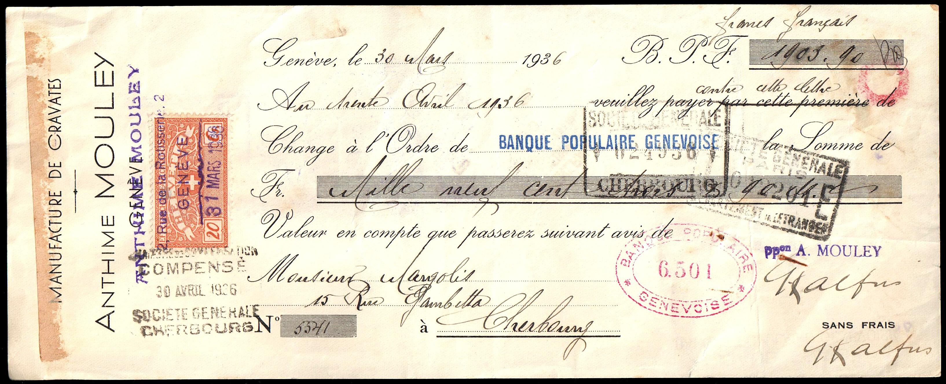 Fileswitzerland 1936 03 31 bill of exchange anthime mouleyg fileswitzerland 1936 03 31 bill of exchange anthime mouleyg thecheapjerseys Gallery