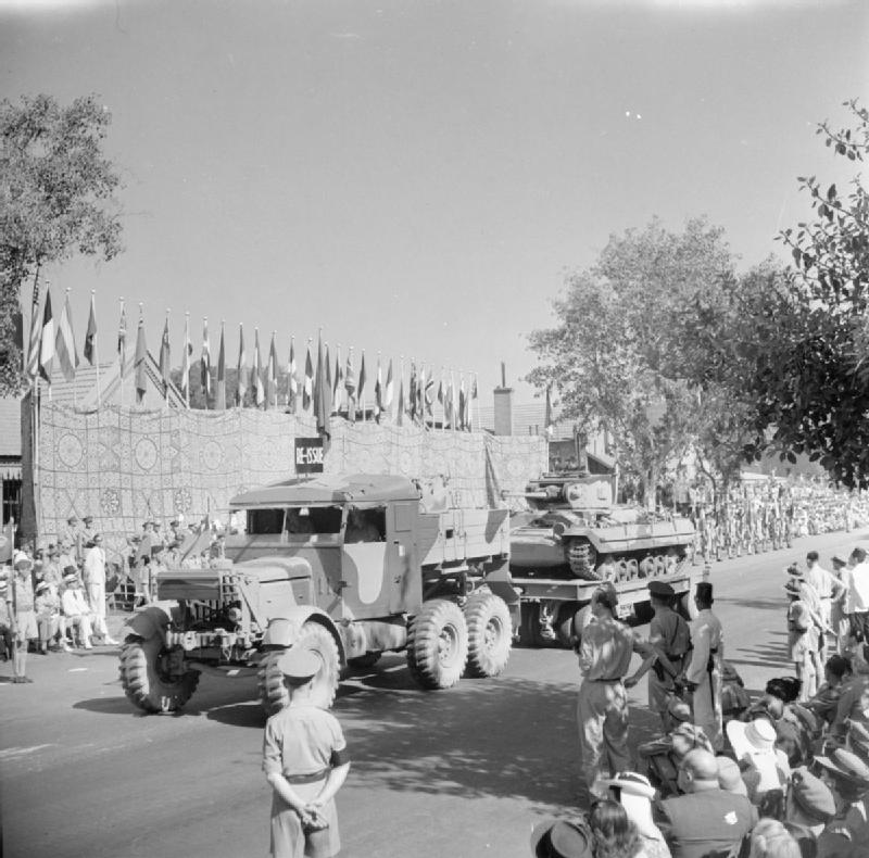 A Scammell transporter carrying a Valentine tank