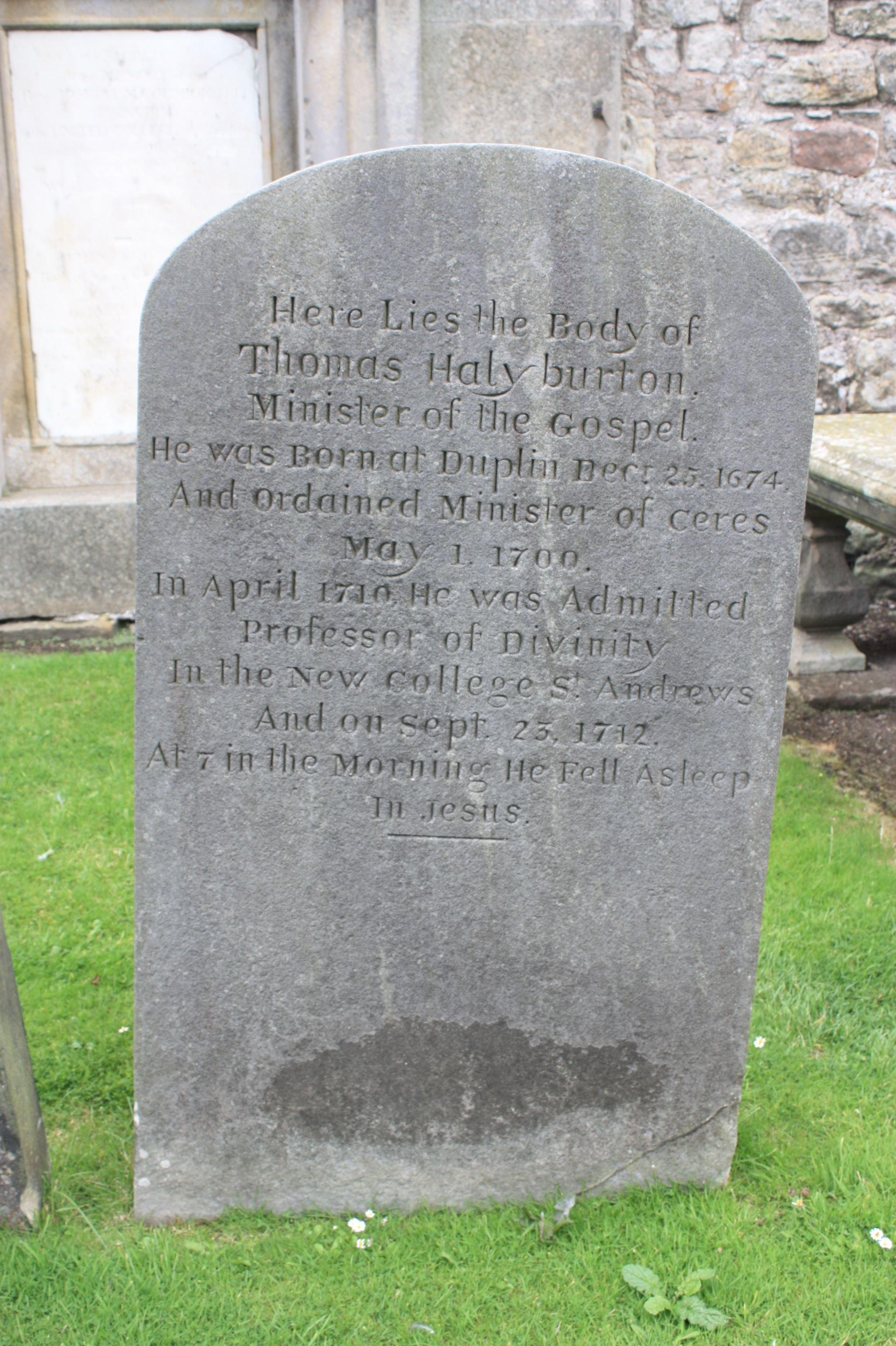 The grave of Thomas HalyburtonSt Andrews Cathedral churchyard