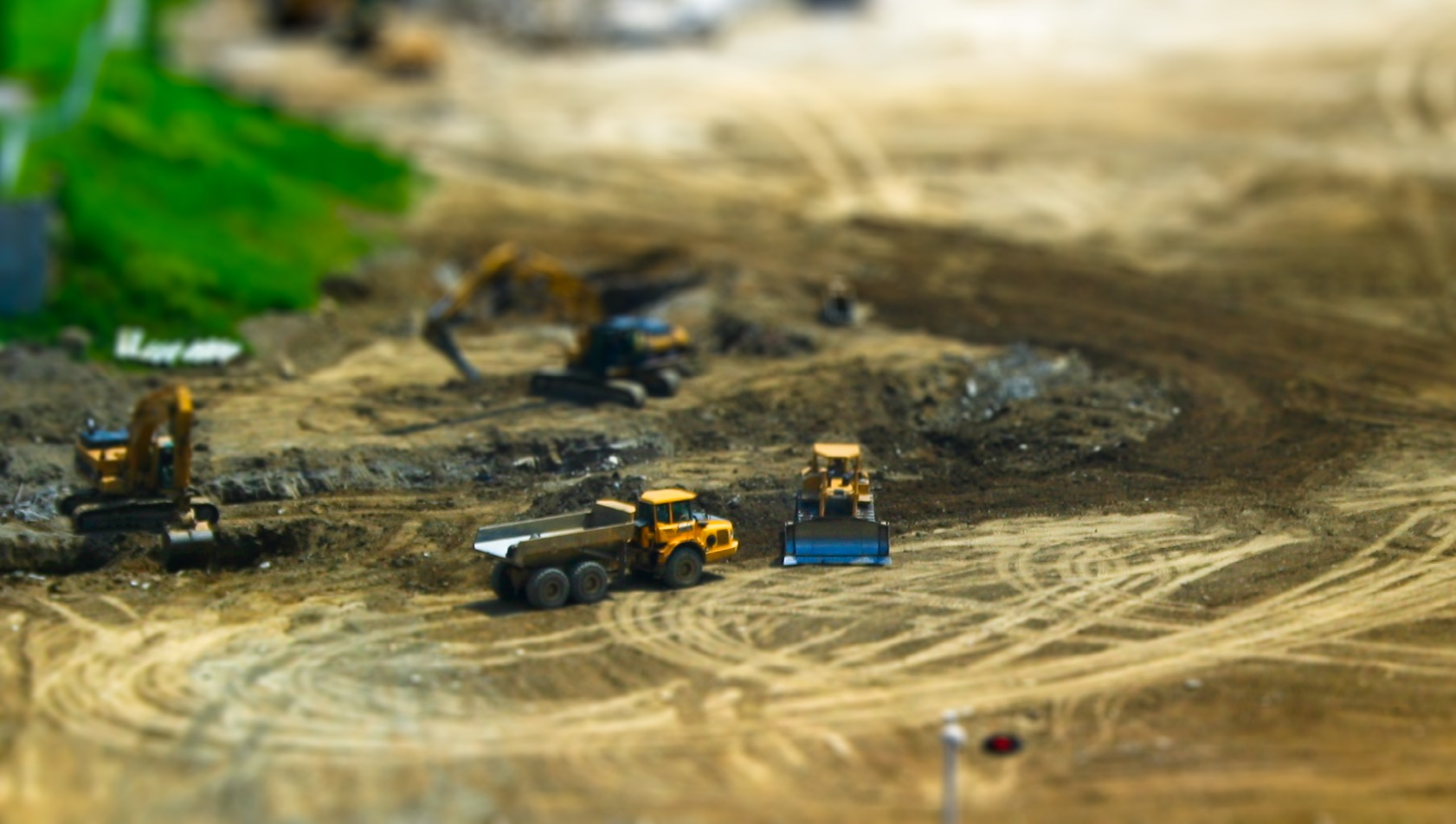 Tilt Shift Construction Shot from the Duke Energy building in Cincinnati, OH. Subject is the parking lot construction site next to the Reds Stadium