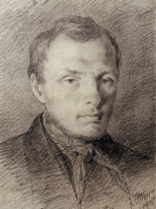 Достоевский в 26 лет, рисунок К. Трутовского, итальянский карандаш, бумага, (1847), (ГЛМ).