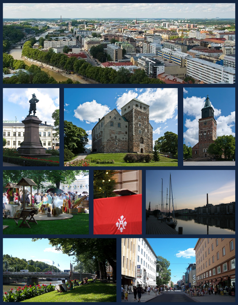 Top row: Aerial view of Turku from atop Turku Cathedral 2nd row: Statue of Per Brahe, Turku Castle, Turku Cathedral 3rd row: Turku Medieval Market, The Christmas Peace Balcony of Turku, Twilight on the Aura River Bottom row: Summer along the Aura River, view of Yliopistonkatu pedestrian area