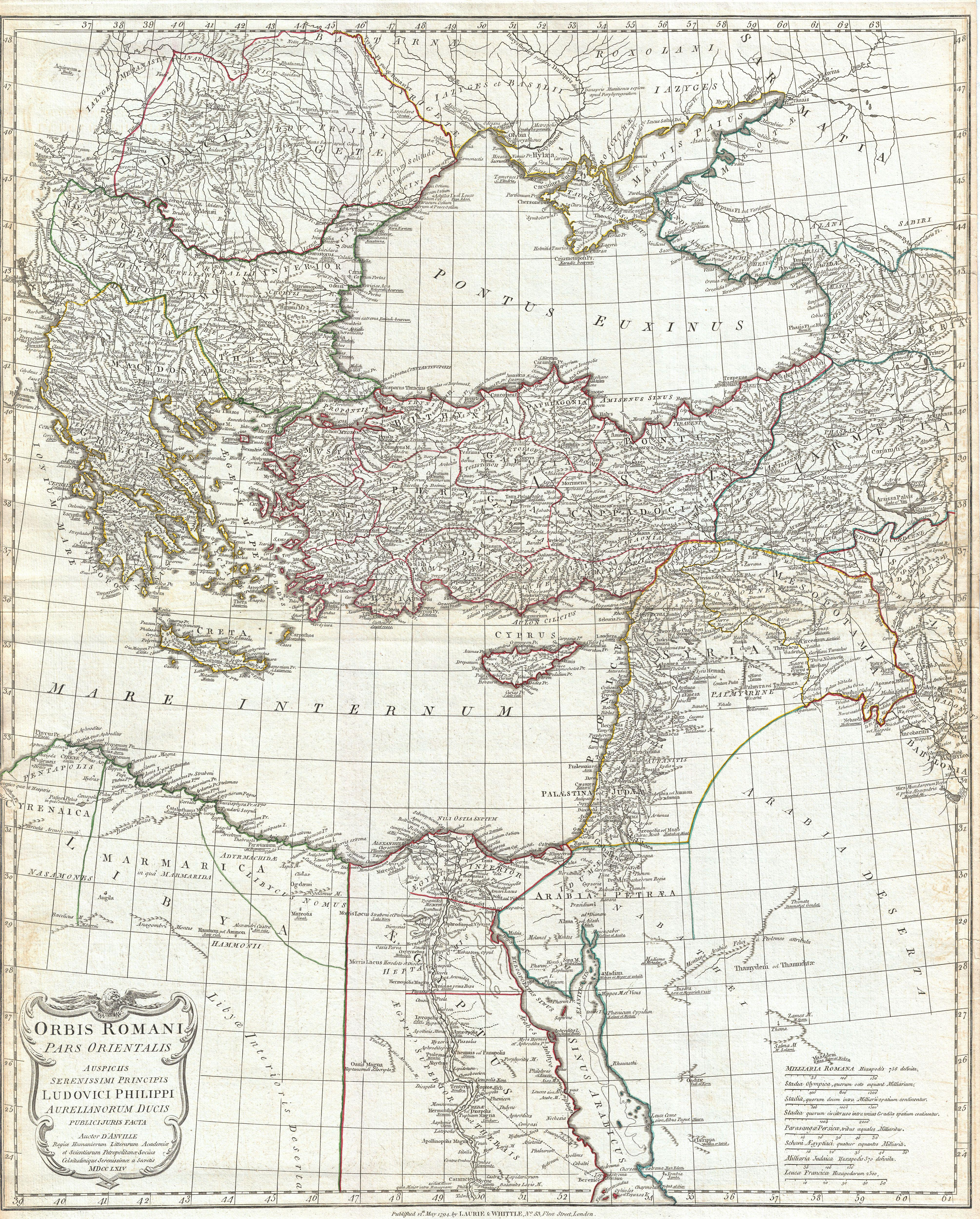 A 1794 Map Of The Eastern Roman Empire By The Jesuit D Anville