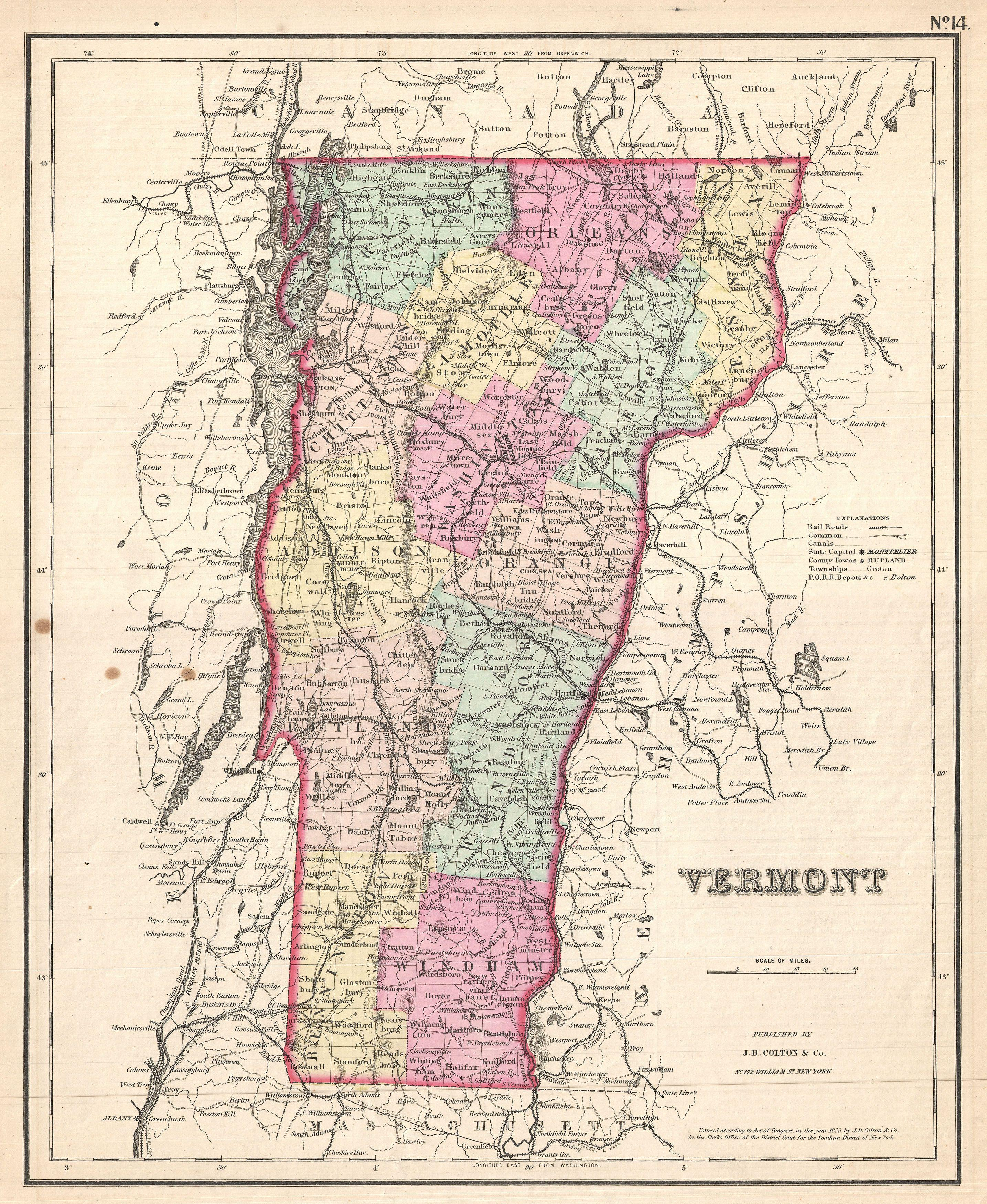 File Colton Map Of Vermont Geographicus Vermontcolton - Vermont in us map